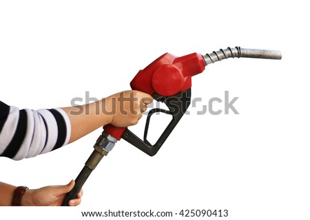 Hand holding fuel pump nozzle isolated on white background - stock photo