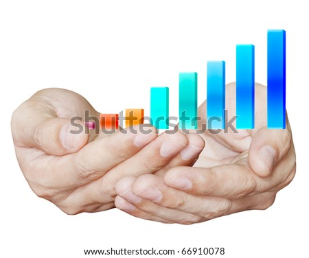 Hand holding gainfully - stock photo