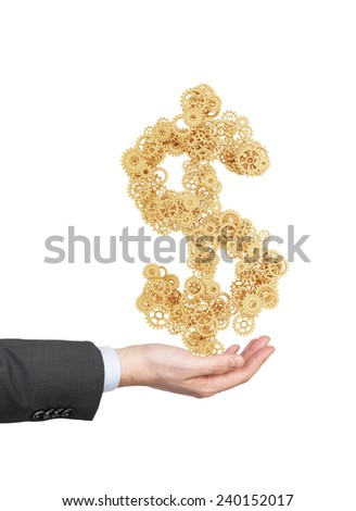 hand holding gold gears in form dollar - stock photo