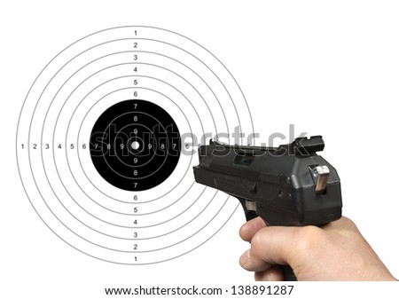 Hand holding gun shooting target with clipping path. - stock photo