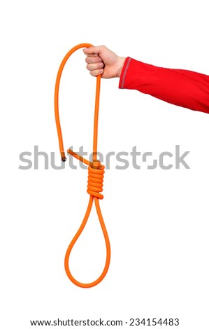 hand holding Hanging noose of rope, isolated on white - stock photo