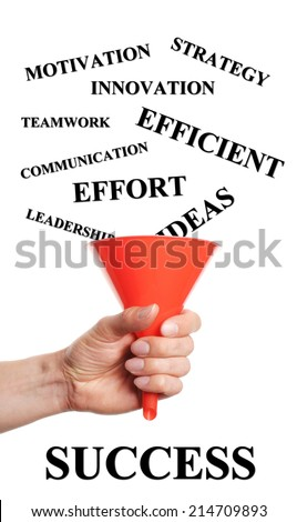 Hand holding hopper by words fall into which are necessary for success - stock photo