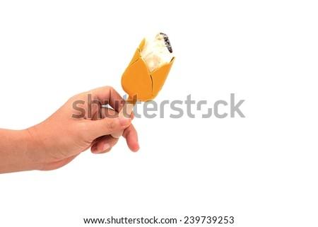 hand holding Ice cream sticks isolated on white  - stock photo