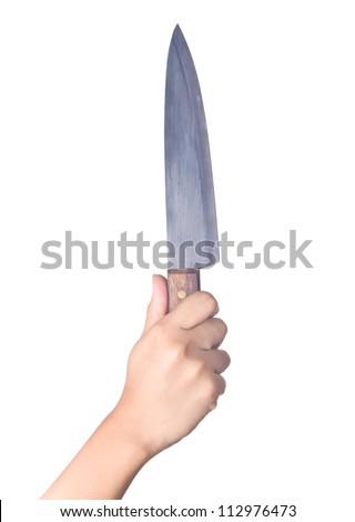 Hand holding knife on white background - stock photo