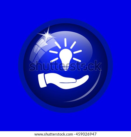 Hand holding lightbulb.Idea icon. Internet button on blue background. 