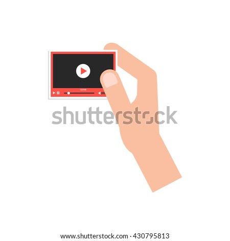 hand holding little video player card. concept of marketing, video blogging, stream, promotion, presentation, network. isolated on white background. flat style trend modern design illustration - stock photo