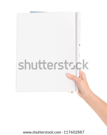 Hand holding magazine with blank page. Isolated on white. - stock photo