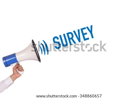 Hand Holding Megaphone with SURVEY Announcement - stock photo