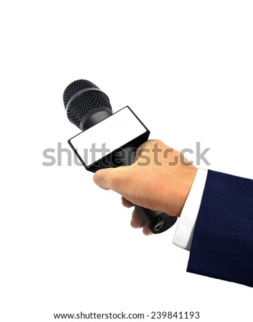 Hand Holding Microphone for Interview  - stock photo