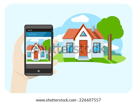 Hand holding mobile phone smartphone with house sale offer cartoon design style. Raster version - stock photo