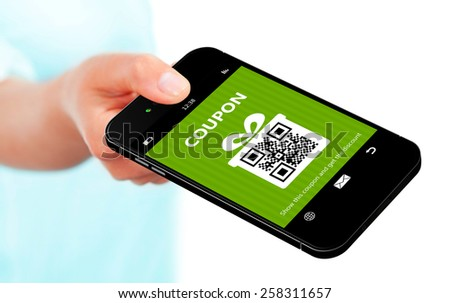 hand holding mobile phone spring discount coupon isolated over white background - stock photo