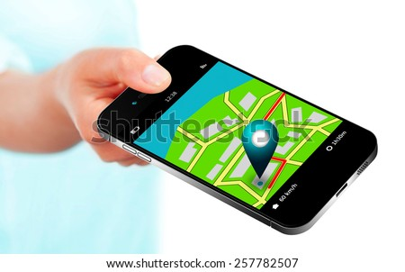 hand holding mobile phone with gps application and map over white background - stock photo