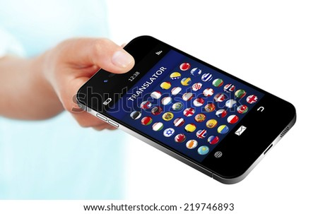 hand holding mobile phone with language translator application over white background - stock photo