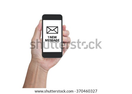 Hand holding mobile phone with 1 new message word isolated on white background; clipping path - stock photo