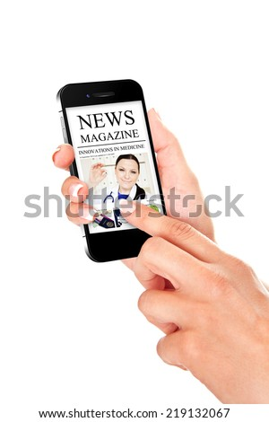 hand holding mobile phone with news magazine isolated over white background - stock photo