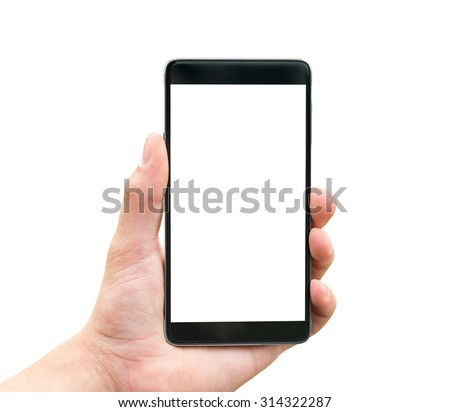 Hand holding mobile smart phone isolated on white background  - stock photo