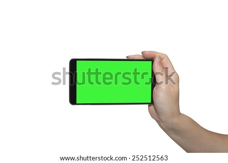 Hand holding mobile smart phone on isolated - stock photo