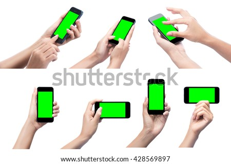 Hand holding mobile smart phone with blank screen.Smart phone.call phone.Smart phone technology.Mobile gadgets.Mobile Phone.holding mobile smart phone.isolated with clipping path. - stock photo