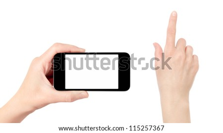 Hand holding mobile smart phone with blank screen. Touching hand have a clipping path. Isolated on white. - stock photo