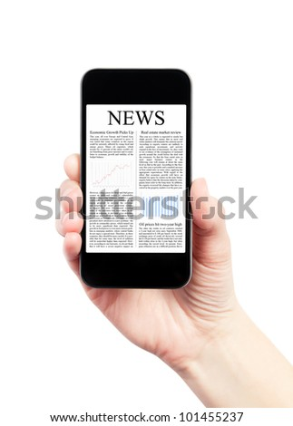 Hand holding mobile smart phone with news article on the screen. Isolated on white. - stock photo