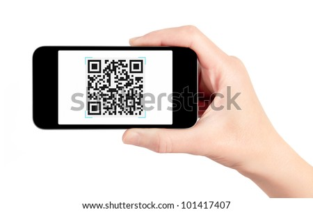 Hand holding mobile smart phone with QR code scanner on the screen. Isolated on white. - stock photo