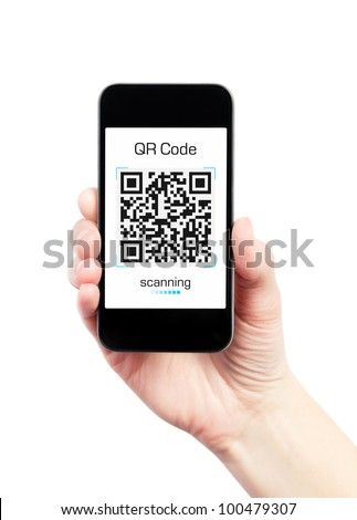 Hand holding mobile smart phone with quick response code pattern scanner on the screen. Isolated on white. - stock photo