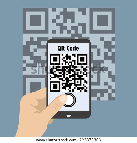 Hand Holding Mobile,Smartphone concept with a qr code scanning. - stock photo