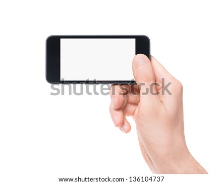 Hand holding mobile smartphone with blank screen. Mobile photography concept. Isolated on white. - stock photo
