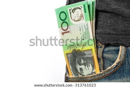 Hand holding money - AUD - Australian Dollars - stock photo