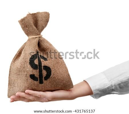 Hand holding money bag, isolated on white - stock photo