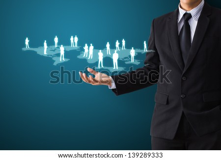 Hand holding network - stock photo