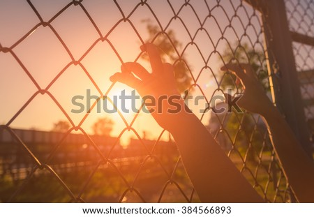 Hand holding on chain link fence - stock photo