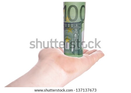 Hand holding one hundred euro banknote / euro money - stock photo