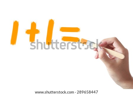 Hand holding painting brush is drawing One plus one on white background. - stock photo