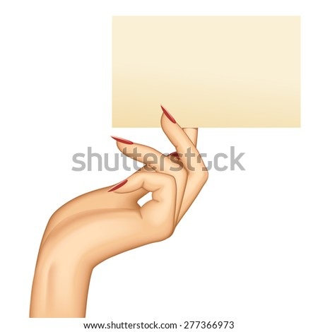 Hand holding paper business card - stock photo