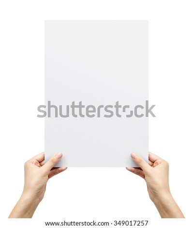 Hand holding paper isolated on white - stock photo