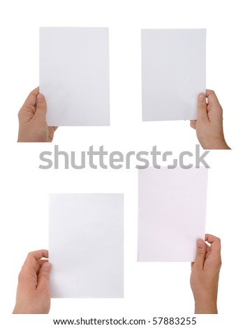 hand holding paper sheet with clipping paths - stock photo