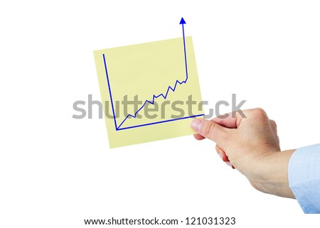Hand holding paper with rising chart - stock photo
