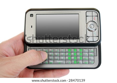 Hand holding pda mobile device with blank screen - stock photo
