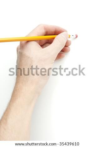 Hand Holding Pencil - stock photo