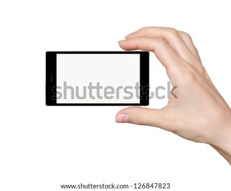 Hand holding phone with empty touch screen isolated on white background - stock photo