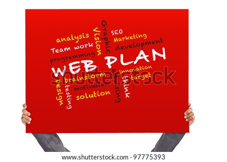 hand holding Poster web plan concept and other related words - stock photo