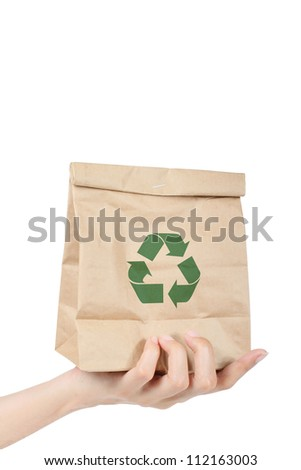 Hand holding recycle brown paper bag - stock photo