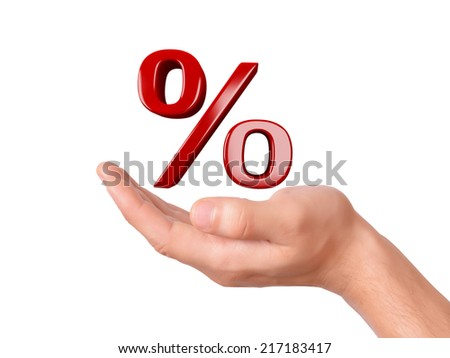 hand holding red percent sign. sale concept  - stock photo