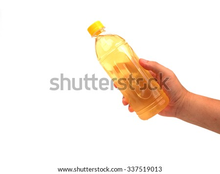 hand holding refreshment isolated on white - stock photo