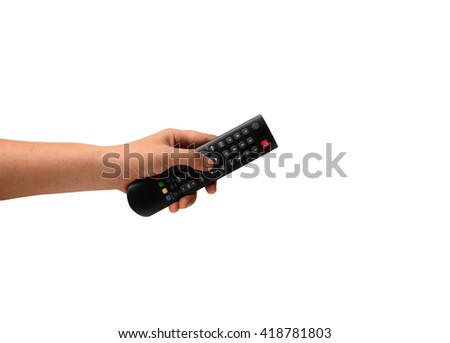 Hand holding  remote control. Isolated on white - stock photo
