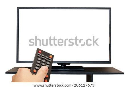 Hand holding remote control to the TV screen isolated on white background - stock photo