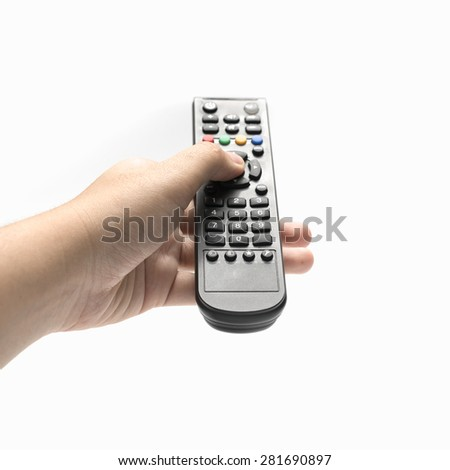 hand holding remote isolated on white background - stock photo