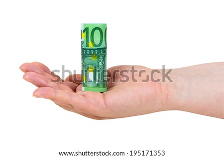 Hand holding rolled 100 euro banknote isolated on white background with clipping path - stock photo