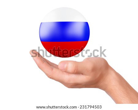 hand Holding russia flag icon on white bakground - stock photo